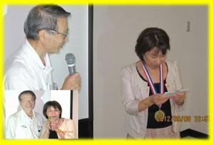 団塊サミット 講師にお礼の金メダルを受け取っていただきました。