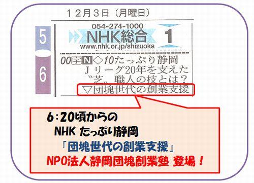 12月3日  たっぷり静岡番組表